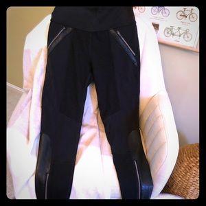 Black Athleta leggings w/ vegan leather detailing